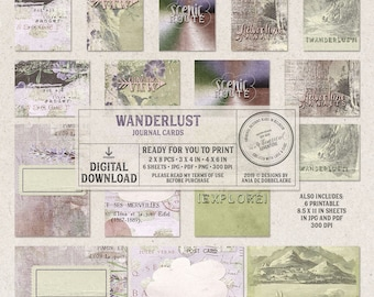 Travel Journal, Printable Pocket Cards, Travel Quotes, Wanderlust Journal Cards, Mountains And Landscapes, Light Green, Adventure Awaits