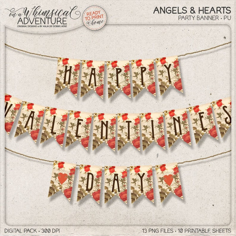 Printable Valentine Party Decor Vintage Style Garland DIY image 0