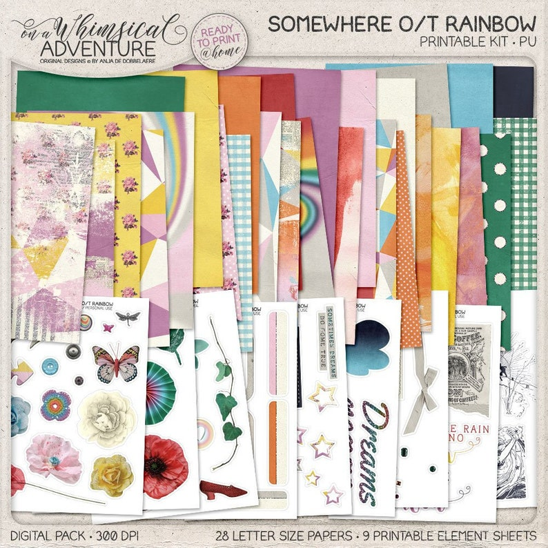 Over The Rainbow Printable Stickers Rainbow Colors Collage Sheets Downloadable Paper Crafts Travel Journal Wizard Of Oz Junk Journal