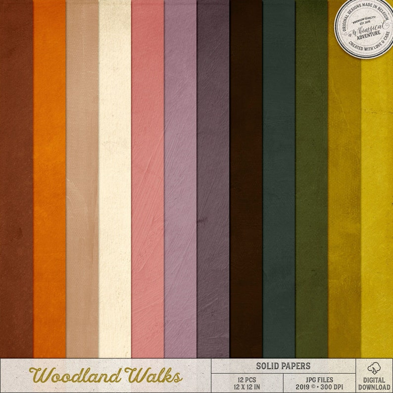 Woodland Autumn Backgrounds For Scrapbooking Instant image 0