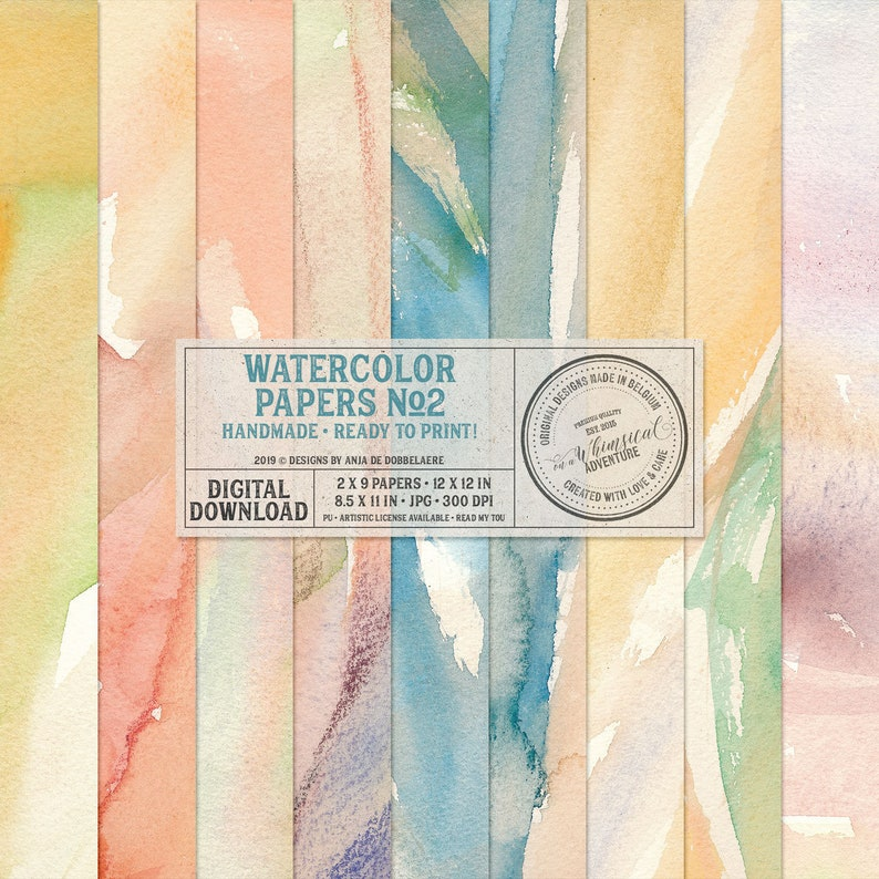 Hand Painted Watercolor Papers Digital Download Printable image 0