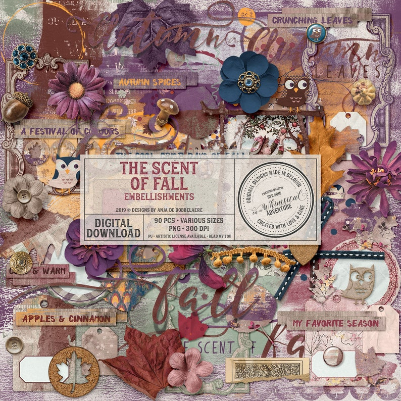 Scent Of Fall Digital Scrapbook Embellishments Instant image 0