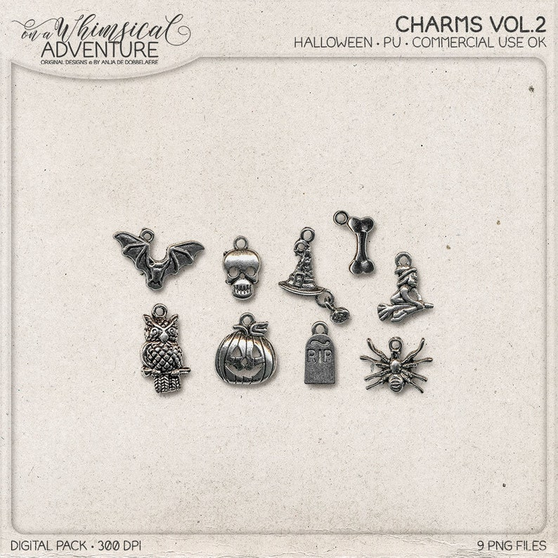 Halloween Charms Antique Silver Trinkets Digital Elements image 0