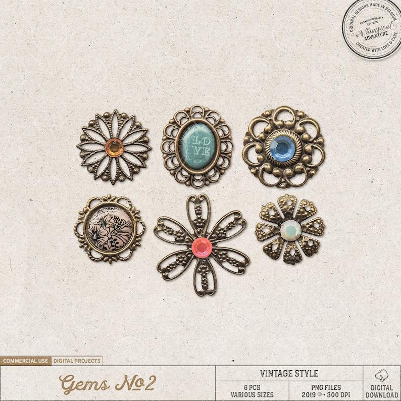 Vintage Gems Boho Charms Trinkets Digital Download image 0