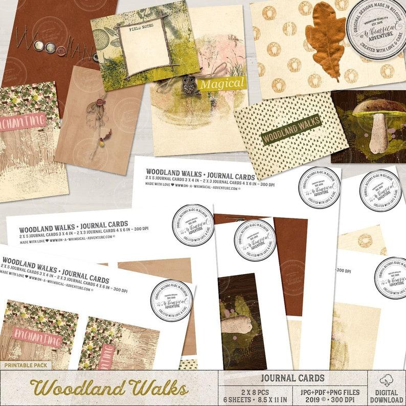 Woodland Themed Journal Cards Botanical Pattern Nature image 0