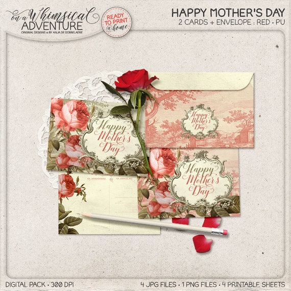 Happy mothers day card Greeting card Birthday card for mother her wife Thank you card Love you card Handmade card Postcard Art cards Atc