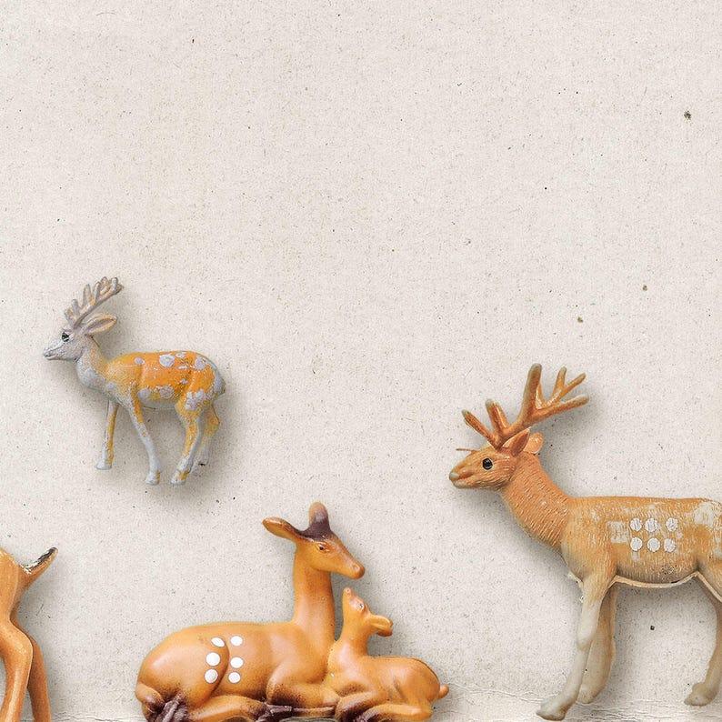 Commercial Use OK Animal Figures Outdoor Winter Christmas Deer Reindeer Forest Digital Scrapbooking Elements Woodland Toy Animals