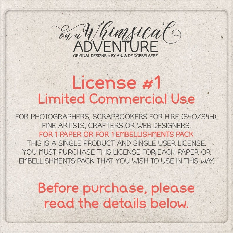 Limited Commercial Use License For Photographers Scrapbookers image 0