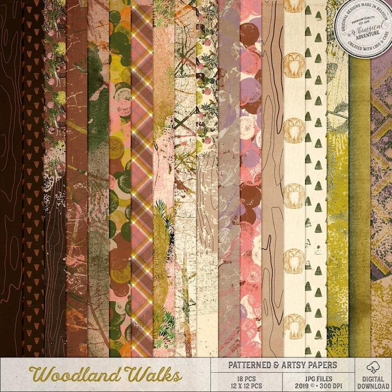 Botanical Pattern Nature Inspired Woodland Digital Paper image 0