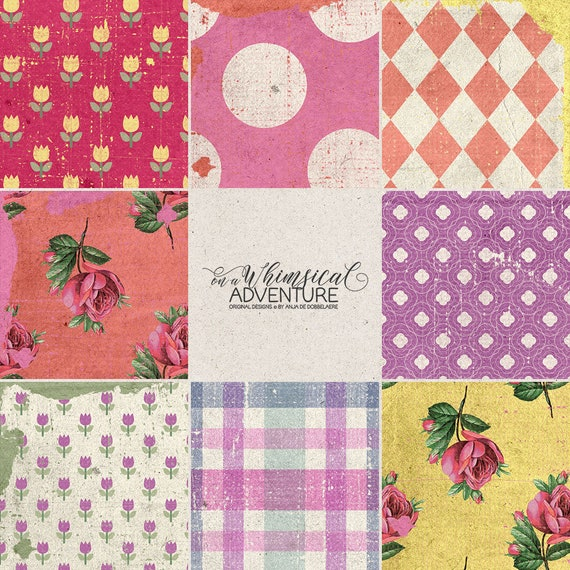 Paper Crafts Patterns Vintage Style Colorful Digital Etsy