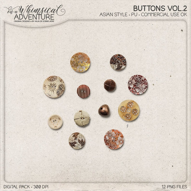 Boho Buttons Hippie Button Mix Oriental Style Commercial image 0