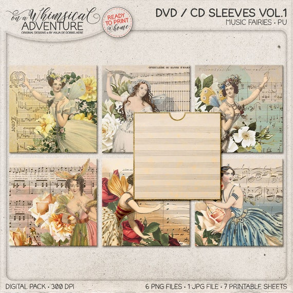 Cd Sleeves Printable Dvd Sleeve Template Sheet Music Etsy