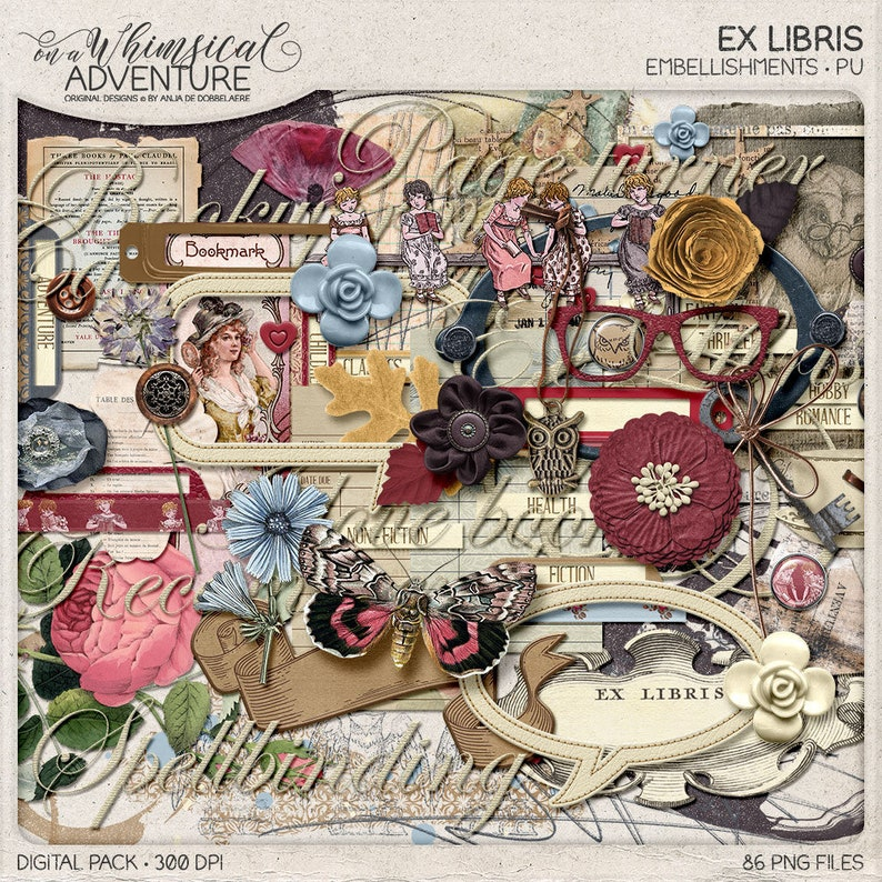 Ex Libris Digital Scrapbook Embellishments Librarian Gift image 0