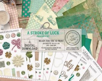 St Patricks Day, Junk Journal, Printable Scrapbook Paper, Instant Download, Irish Gifts, Four Leaf Clover, Celtic Knot, Collage Sheets