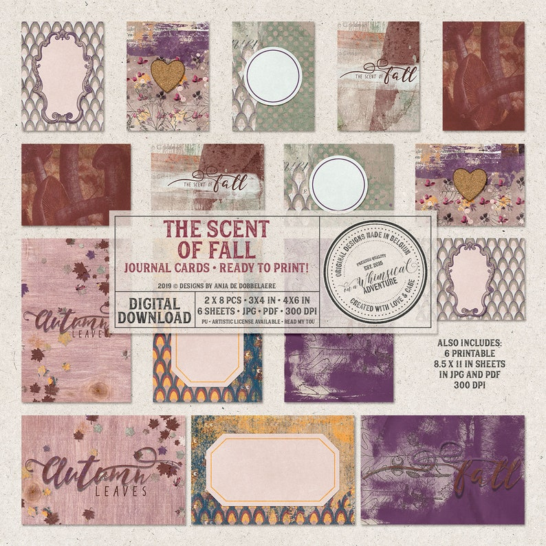 Printable Journal Cards for Scrapbook Pages Fall Themed image 0