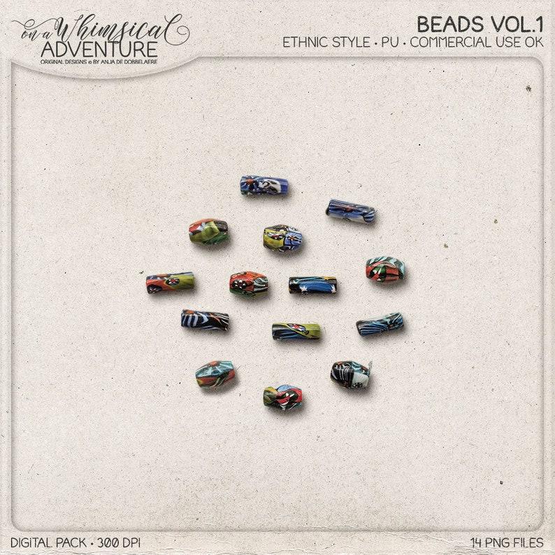 Boho Ethnic Style Beads Digital Scrapbooking Embellishments image 0