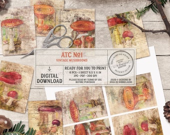 Woodland Mushrooms, ATC Printable, Junk Journal, Vintage Fungi, Botanical Print, Instant Download