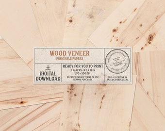 Wood Veneer Sheets For Printing, Letter Size Wood Paper, Wood Digital Paper, Printable, Real Wooden Texture, Instant Download, Blank Wood