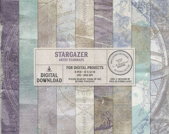 Celestial Scrapbook Paper - Vintage Astronomy Background - Zodiac Constellation - Instant Download