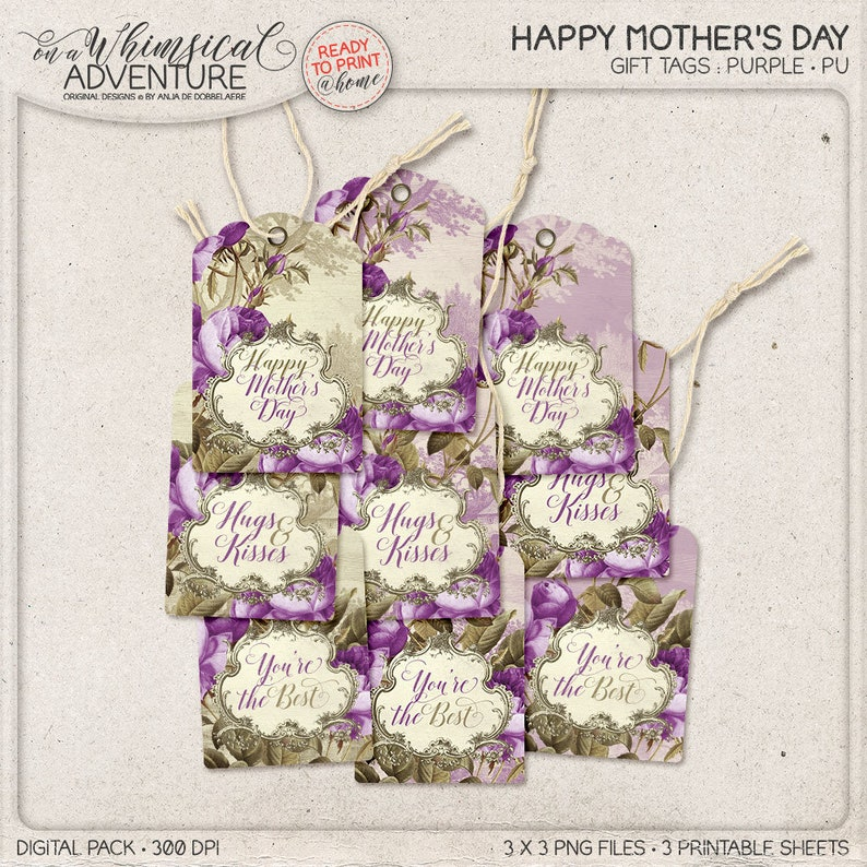 Purple Flowers For Mom Her Birthday Gift Mothers Day Romantic Gifts Vintage Style Lilac Floral Hang Tags Printable Labels