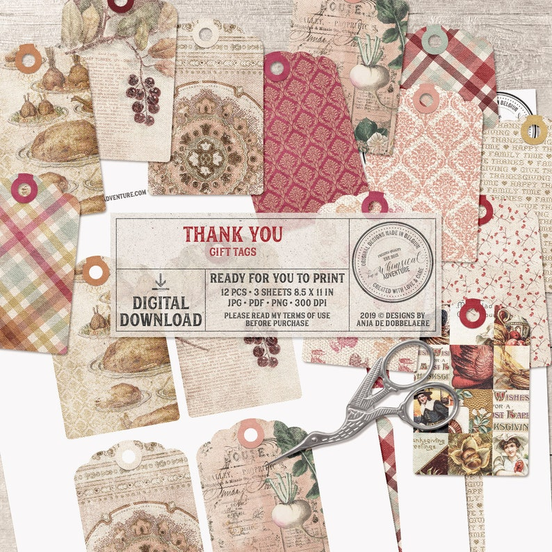 Thank You Printable Tags Instant Download Digital Collage image 0