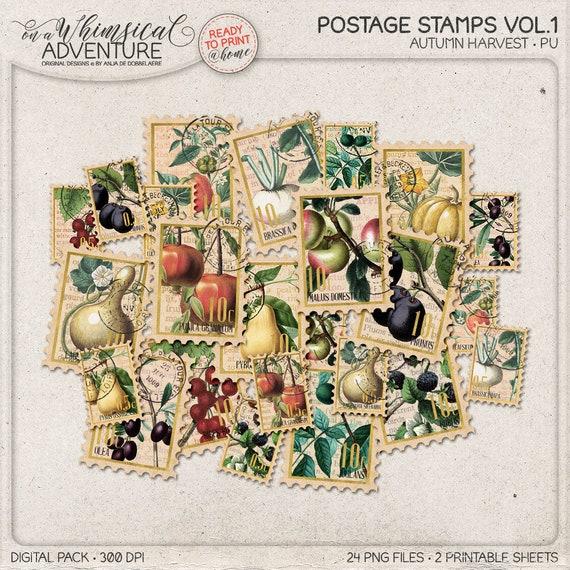 printable stamps for envelopes vintage botanical postage etsy