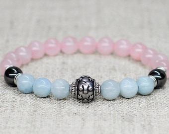 Aquamarine jewelry Rose quartz bracelet Aries zodiac jewelry Mothers day gifts for girlfriend gift for sister gift for mom gifts for grandma