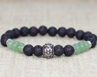Sage Green Aventurine Lava Rock Bracelet Aries Zodiac Jewelry Mens Birthday Gifts For Boyfriend Gift Son Him