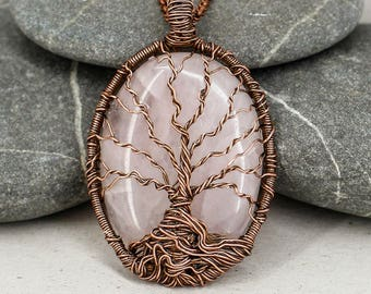 Tree Of Life Rose Quartz Necklace Mom Jewelry Mothers Day Gift For Grandma Gifts Wife Sister Girlfriend