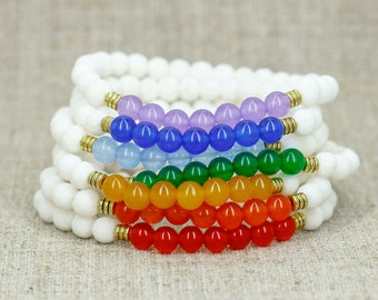 7 chakra bracelet set Chakra jewelry Chakra stone bracelet Balance bracelet Reiki healing crystal Meditation bead Yoga jewelry Yoga gift