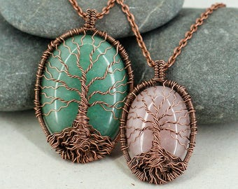Family tree of life necklace Heal crystal and stone Copper anniversary gift Mother day gift for mom gift for sister gift for wife gift women