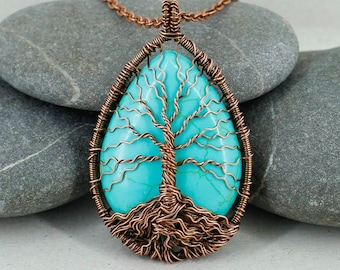 Tree Of Life Pendant Turquoise Jewelry Good Luck Necklace Mothers Day Gifts For Mom Birthday Gift Grandma Men Husband