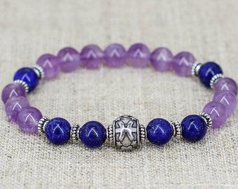 Birthstone bracelet Pisces bracelet Pisces jewelry Zodiac signs jewelry Zodiac bracelet Stack bracelet Horoscope jewelry Astrology gift mom