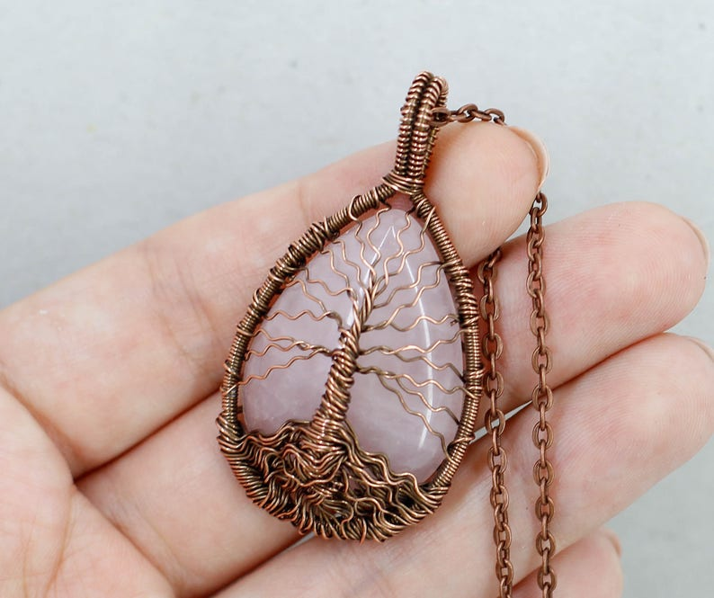 Tree of life amulet Rose quartz necklace Mom jewelry Birthday gifts for wife gifts for sister gifts for mom gifts for women gifts for her