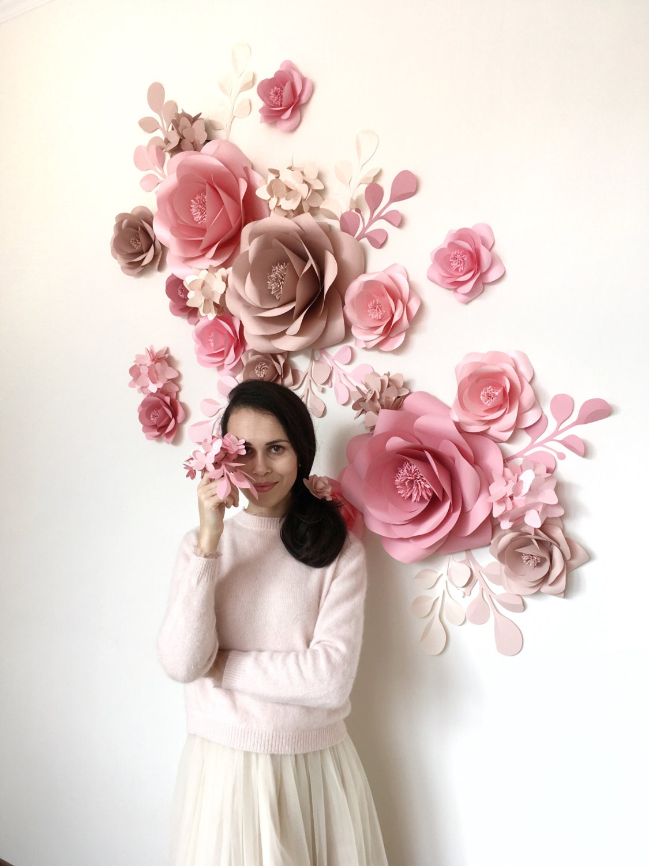 Flores de papel grandes de pared papel flor fondo Wall de