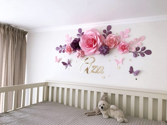 Nursery Paper Flowers Paper Flowers Over The Crib Baby Etsy