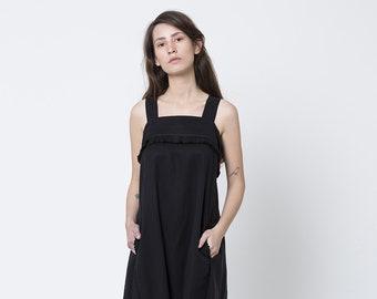 sarafan dress, black oversized dress, Loose fitting dresses, Side pockets dress,sleeveless summer dress, Black summer dress, fringe dress