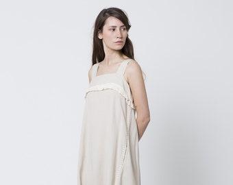 Sarafan dress, Loose Fitting Dress ,Fit And Flare Dress, Knee Length Dress, Flowy Dress With Pockets, Pocket Dress, fringe dress white