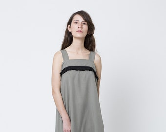 green grey dress, sarafan dress, Knee Length Dress, Loose fitting dresses, Side pockets dress, sleeveless summer dress, fringe dress
