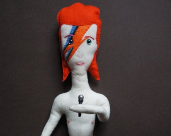 David Bowie plush doll - handcrafted Aladdin Sane 20 inches tall with microphone