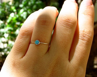 opal stacking ring, Silver stacking ring, Blue opal ring, opal ring silver, opal ring, Silver blue opal ring, Tiny opal ring, opal jewelry