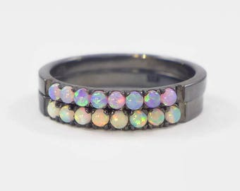 fire opal ring, opal rings set, unique opals rings, opal stacking rings, white opal ring, pink opal ring, black stacking rings, opal ring