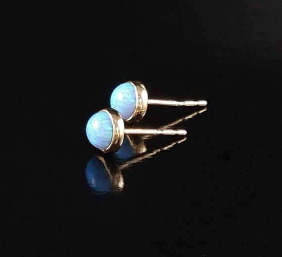 7ebb575451dc6 opal stud earrings, Blue Opal earrings, gold studs, Opal stud earrings,  gold blue opal studs