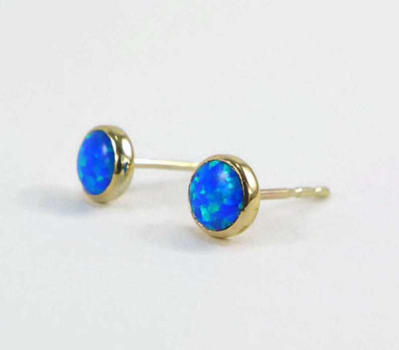 6fcdac6422959 Blue Opal earrings, gold filled studs, Opal stud earrings, gold blue opal  studs, gold opal studs, royal blue earrings, 14k gold fill studs