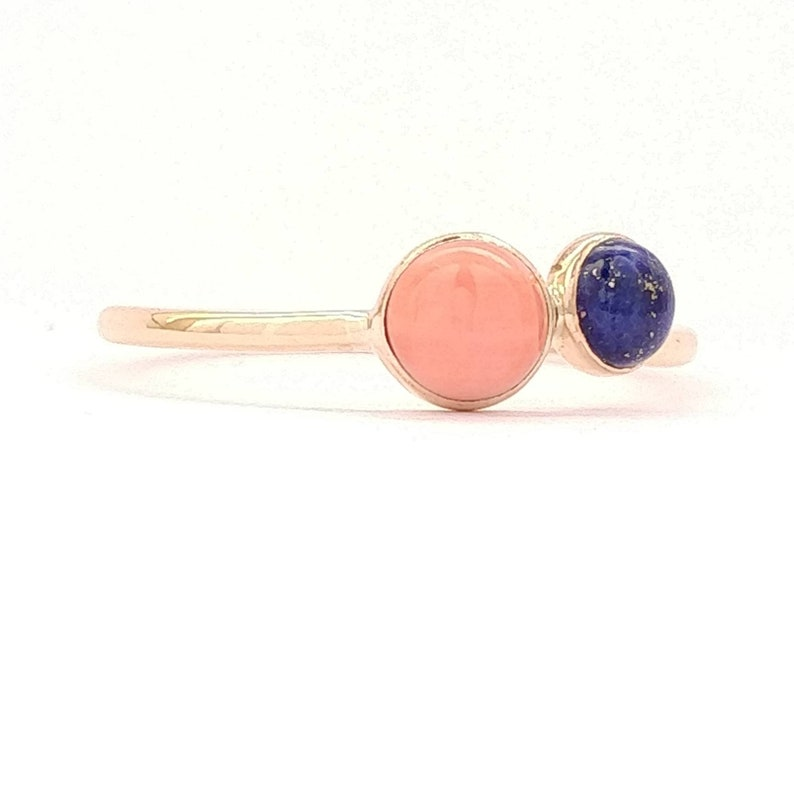 fashion jewelry Gold coral ring coral gold ring lapis gold ring cluster gold ring Stacking Gemstone Ring