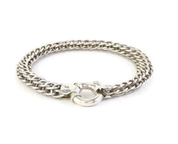 Mens Silver Bracelet Mens Cuff Bracelet Heavy Chain Etsy