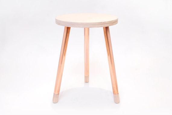 Copper Wood Stool 3 Leg Etsy