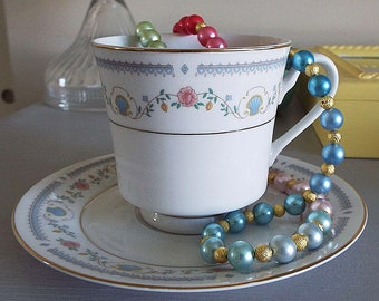 Tivoli Bone China 1980s Pink Flowers Blue Seashell Gold Trimmed Footed Cup /& Saucer