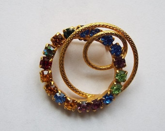Vintage 1960s Multi-Color Rhinestone Looping Circles Gold Tone Brooch