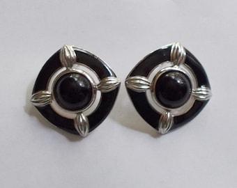 Vintage Trifari 1970s Silver Tone Black Enamel Post Earrings